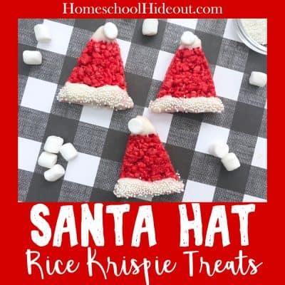 Christmas Rice Krispie Treats have never been so cute! #christmasbaking #holidaycheer #santa #santafood #christmasdesserts #ricekrispietreats #elftreats